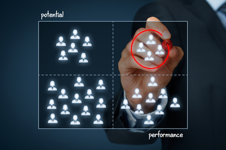 high performance: Potential and performance business graph, finding hole in the market. Marketing specialist (businessman) is looking for segment of customers with high performance (revenue) and high commercial potential. Stock Photo
