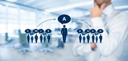 Beïnvloeder, opinieleider, teamleider, CEO en een ander bedrijf toonaangevende concepten. Stockfoto