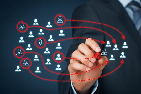 Assembler une équipe commerciale, segmentation marketing, team building, le ciblage, la personnalisation, les soins à la clientèle individuelle (service), et la gestion de la relation client (CRM) concepts. Banque d'images
