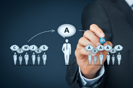 influencer: Influencer, opinion leader, team leader, CEO and another business leading concepts. Opinion leader (for example politician) has power to influence opinion mass of people especially customers. Stock Photo