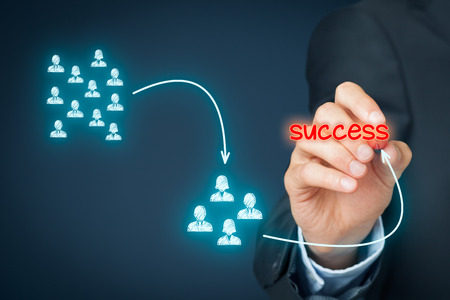 Assemble a successful business team, marketing segmentation and team building concepts.