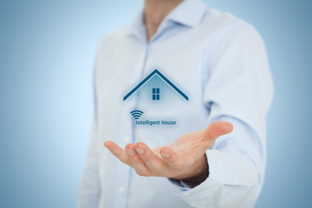 intelligent: Intelligent house, smart home and home automation concept. Stock Photo