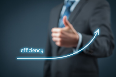 Efficiency increase concept. Businessman is satisfied with company efficiency growth. Stock Photo