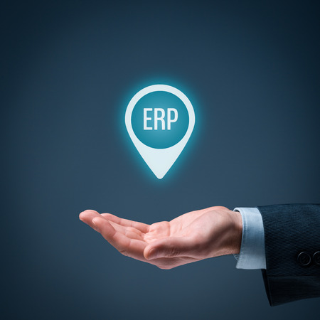managerial: Enterprise resource planning ERP concept. Businessman offer ERP business management software for collect, store, manage and interpret business data.