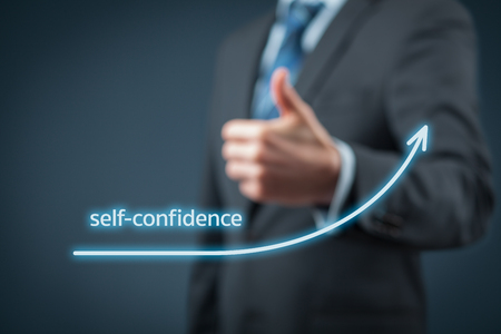 managerial: Self-confidence improvement concept. Businessman is satisfied with growing self-confidence.