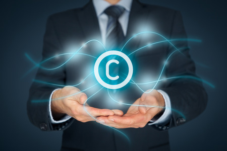 Intellectual property protection law and rights, copyright and patents concept.