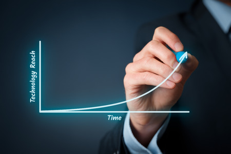 innovator: Technology roadmap concept. Businessman draw graph with time and technology reach. Stock Photo