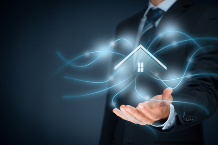 wireless technology: Intelligent house, smart home and home automation concept. Stock Photo