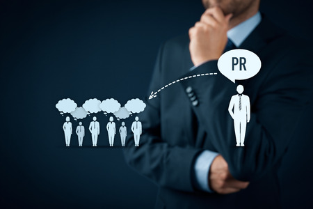 relations: Public relations (PR) concept. Businessman think about PR services (public relations) and its impact to public.