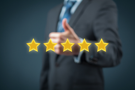 review: Review, rating, ranking, evaluation and classification concept. Stock Photo