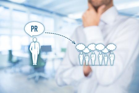 relaciones publicas: relaciones públicas (PR) de concepto. Foto de archivo