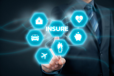 insure: Insurance concept. Businessman (or insurance agent or client) click on insure button. Insurance icons: real estate insurance, car insurance, travel insurance, family and life insurance, financial insurance and health insurance.