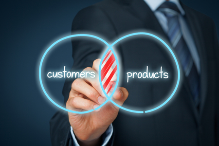 segment: The intersection of customers and products are potential customers. Marketing planning and potential customers concept.
