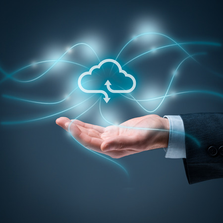 square composition: Cloud computing concept - connect to cloud. Hand with cloud computing icon, square composition. Stock Photo
