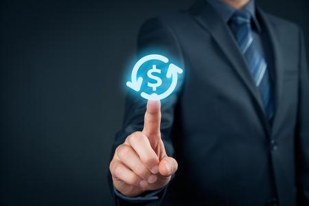 auditor: Businessman (auditor) click on dollar and cashflow symbols. Stock Photo