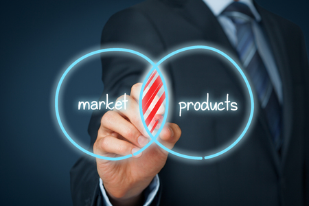 penetracion: mercado y cuota de mercado conceptos potenciales. especialista en marketing dibujar dos conjuntos y su intersección simboliza la cuota de mercado, la saturación y la penetración.