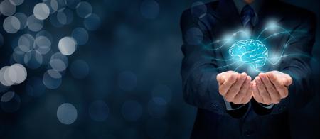 Portare la creatività per il vostro business, visione di business, concetti headhunter, la business intelligence, la salute mentale e la psicologia, il processo decisionale aziendale, diritto d'autore e diritti di proprietà intellettuale, bokeh in background.