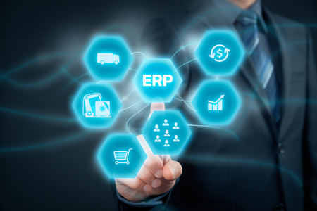 interpret: Enterprise resource planning ERP concept. Businessman click on ERP business management software button for collect, store, manage and interpret business data like customers, HR, production, logistics, financials and marketing.
