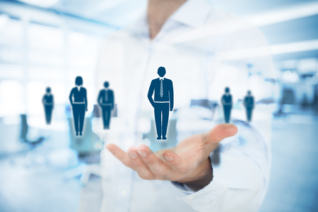 Human resources pool, customer care, care for employees, labor union, life insurance, employment agency and marketing segmentation concepts. Gesture of businessman or personnel and icons representing group of people. Double exposure with office in backgro