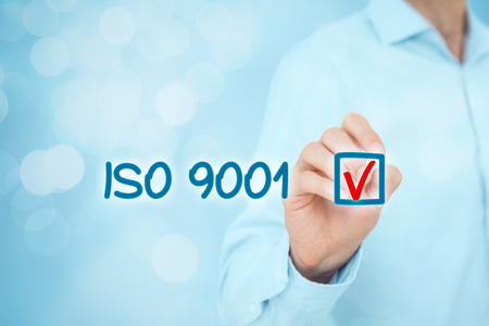 management system: ISO 9001 - quality management system. Businessman select ISO 9001 certification.