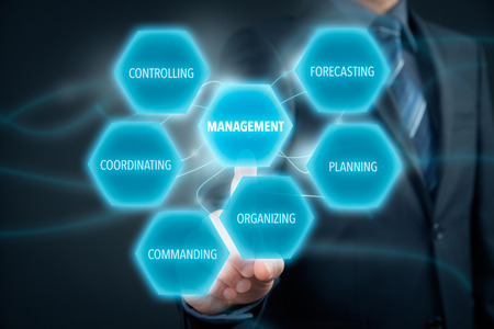managerial: Management concept - businessman (manager) click on button with text management. Managerial six functions: forecasting, planning, organizing, commanding, coordinating and controlling.