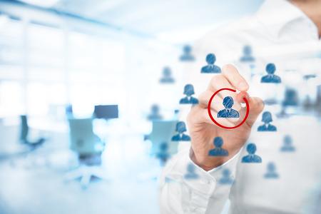마케팅 세분화, 관리, 목표 시장, 타겟 고객, 고객의 관심, 고객 관계 관리 (CRM)가, 인적 자원 모집 및 고객 분석의 개념, 배경 사무실 이중 노출.
