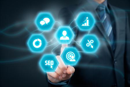 marketeer: Marketing specialist concept. Businessman (personnel) click on marketer (marketing specialist).