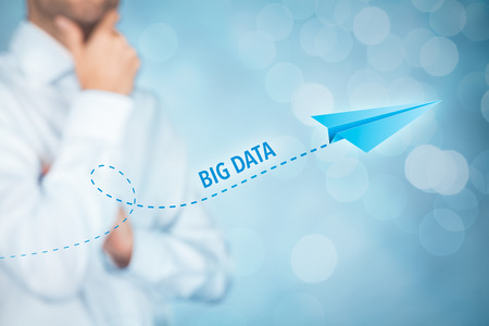 accretion: Big data growth (big-data) concept. Businessman think about accelerating data volume (big data) represented by paper plane. Stock Photo