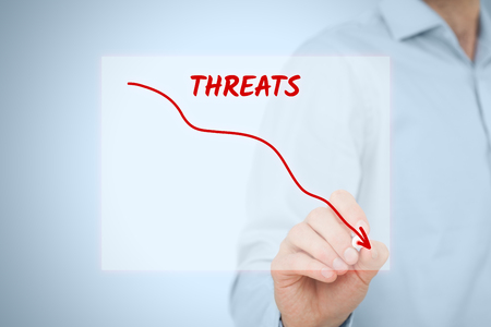 reduce: Threats reduction concept. Businessman draw descending curve in graph to reduce corporate threats as part of SWOT analysis. Stock Photo