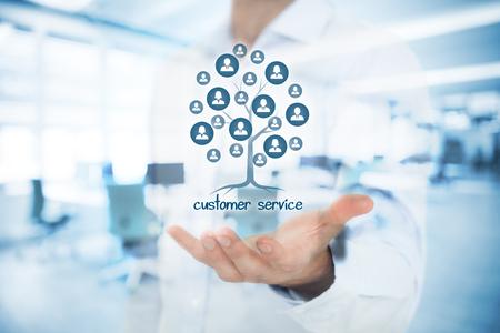 Customer service concept. Klantenservice is een wortel van een boom in de relaties met klanten. Klanten vertegenwoordigd door pictogrammen. Dubbele belichte foto met de klantenservice manager en kantoor.