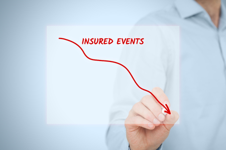insured: Insurance agent plan to decrease insured events. Assurance concept.
