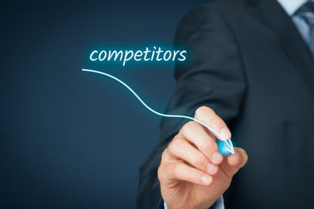 descending: Businessman plan to eliminate competitors. Descending graph with text competitors.
