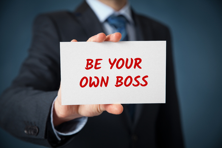 selfemployed: Be your own boss - coach motivate to your own business (and freelance). Stock Photo