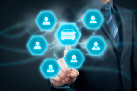 collectives: Carsharing service or car rental concept. Businessman click on button with car icon and group of people (customers). Stock Photo