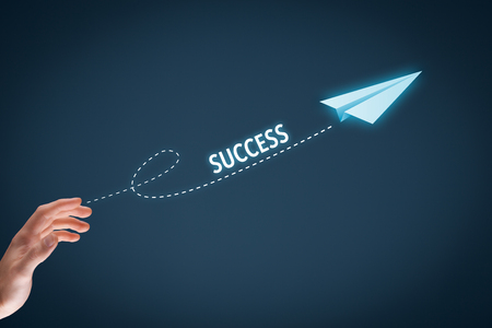 accelerate: Accelerate success concept. Businessman throw a paper plane symbolizing growing (accelerating) success.