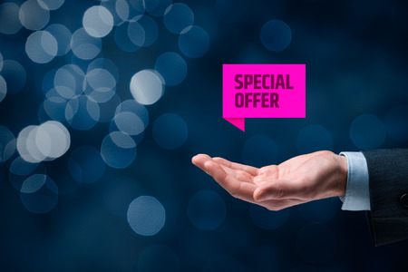 exclusively: Special offer business model and marketing offer. Businessman hold virtual label with text special offer.