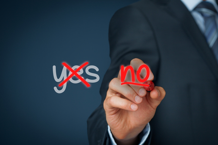no person: Assertiveness concept. The most successful person know how to say no.