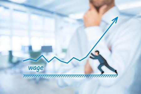 salarios: Aumentar concepto salarial. Director Financiero (oficial de recursos humanos) plan de crecimiento de los salarios representada por la gráfica. Foto de archivo