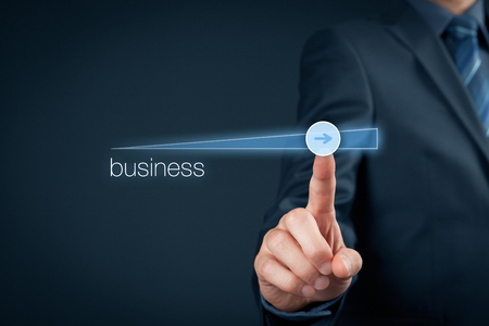 accelerate: Businessman plan to accelerate business growth - business improvement concept.