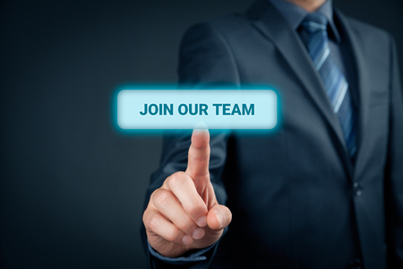 Join our team concept. Businessman (recruiter, HR staffer) click on button with text join our team.