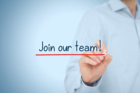 our team: Businessman (recruiter, HR staffer) write and underline text join our team.
