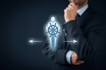 symbolized: Decision making (managerial concept) – select the best business way (opportunity, strategy) symbolized by captain with helm. Stock Photo