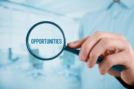 looking for a job: Businessman (marketing specialist) is looking for market opportunities (SWOT analysis).