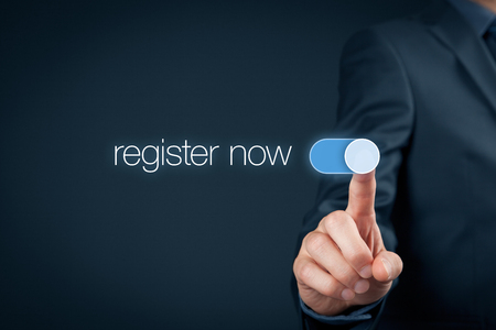 Businessman switch-on button register now, web registration concept.