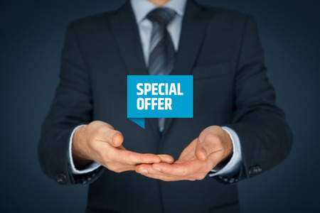 exclusively: Special offer business model and marketing offer concept. Businessman hold virtual label with text.