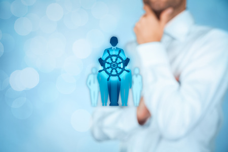influential: Captain as metaphor of influential team leader and manager with mission. Business leading concept. Stock Photo