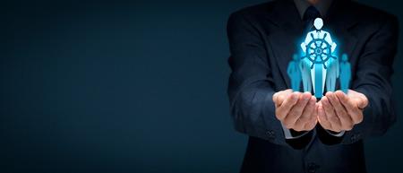 선장과 영향력있는 팀 리더 및 관리자의 은유로 경감. 비즈니스를 선도하는 개념.