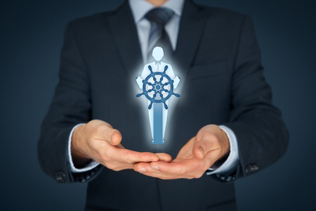 Captain as metaphor of influential leader and manager with mission. Business leading concept.