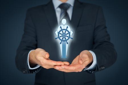 Kapitän als Metapher des einflussreicher Führer und Manager mit Mission. Geschäfts führende Konzept.