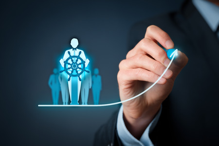 straightforward: Captain as metaphor of influential team leader and manager with mission. Business leading concept. Stock Photo